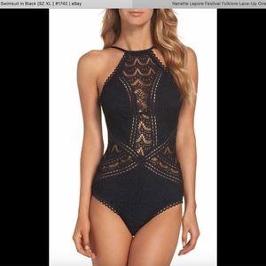 NEW Becca Crochet One-Piece Swimsuit in Black XL